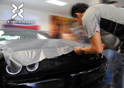 Dodge Challenger Hellcat - Tint & Silver Carbon Fiber Hood Wrap #2