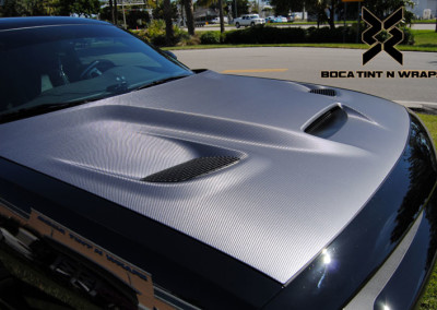 Dodge Challenger Hellcat - Tint & Silver Carbon Fiber Hood Wrap