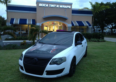 VW - Matte White Custom Hood Wrap